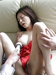 Japanese girl handles three