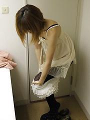 Cute japanese girl preparing before sexy massage