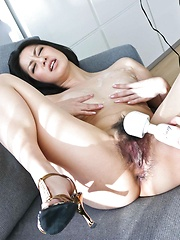 Pretty Japanese honey Ishiguro Kyoka toyed in white lingerie