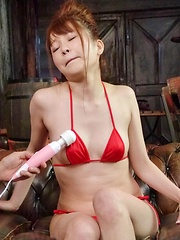 Maomi Nagasawa Asian in red lingerie comes from vibrator on twat