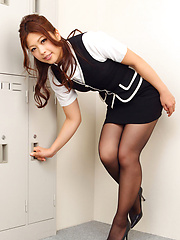 Asuna Kawai Asian has sexy legs in stockings and hot ass in skirt