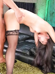 Eririka Katagiri Asian in stockings has snatch eaten and fucked