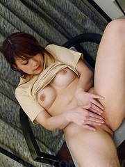 Mayuka Akimoto Asian rubs her pussy before getting dildo in it