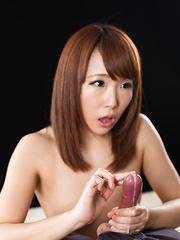 Mizushima Ai takes off her pantyhose and panties for handjob