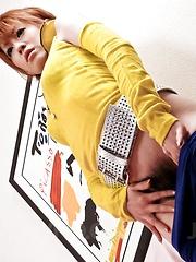 Kaoru Amamiya Asian has labia spread and rides dong she sucked