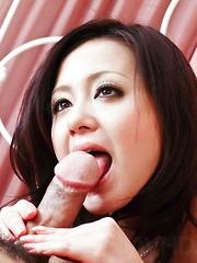 Rui Natsukawa splits her legs wide for a rough tongue lashing