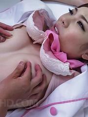 Emi Sasaki steward with juicy tits has hairy crack full of cum